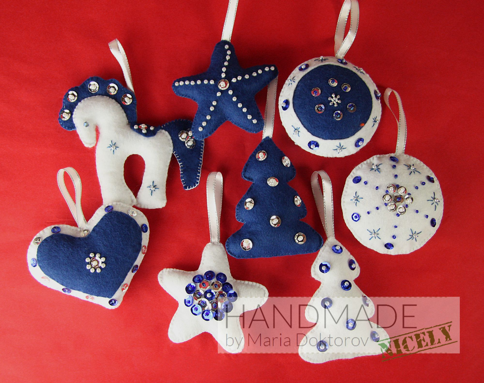 felt christmas ornaments set in white and blue - Felt Christmas Ornaments