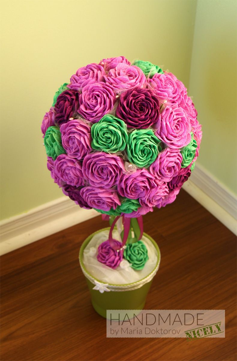 Topiary Tree Made From Crepe Paper