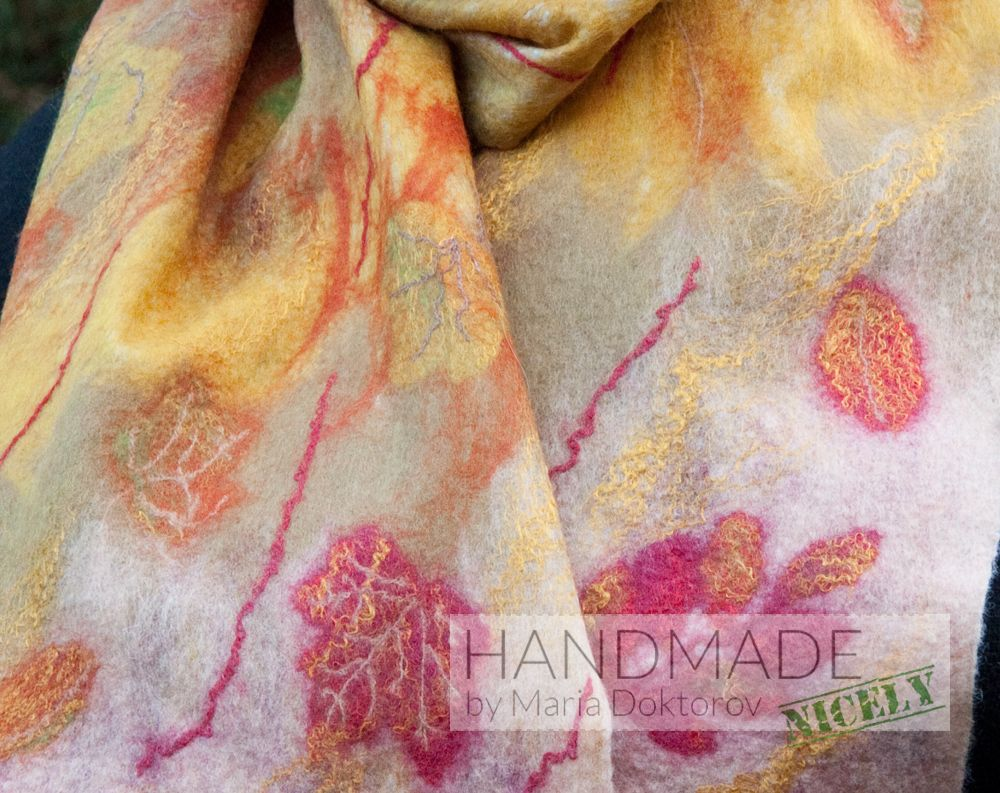 Hand Felted Scarf Made From Wool And Silk Fibers